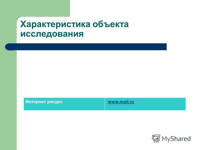 Характеристика объекта исследования Интернет ресурс www.mail.ru