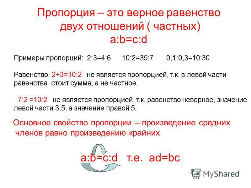 Пропорция – это верное равенство двух отношений ( частных) а:b=c:d Примеры пропорций: 2:3=4:6 10:2=35:7 0,1:0,3=10:30 Равенство 2+3=10:2 не является пропорцией, т.к. в левой части равенства стоит сумма, а не частное. 7:2 =10:2 не является пропорцией,