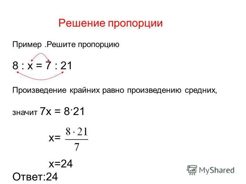 Решение пропорции Пример.Решите пропорцию 8 : х = 7 : 21 Произведение крайних равно произведению средних, значит 7 х = 8·21 х= х=24 Ответ:24