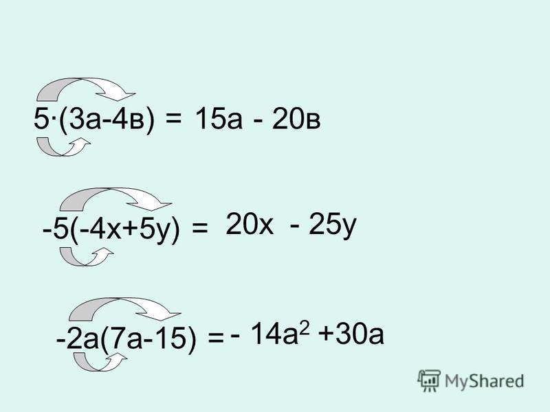 5·(3 а-4 в) =15 а- 20 в -5(-4 х+5 у) = 20 х- 25 у -2 а(7 а-15) = - 14 а 2 +30 а