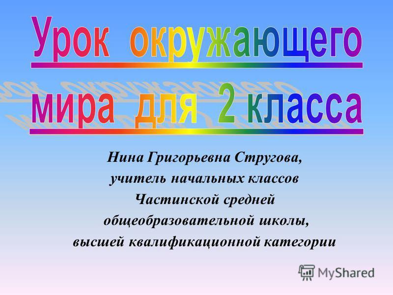 Нина Григорьевна Стругова, учитель начальных классов Частинской средней общеобразовательной школы, высшей квалификационной категории