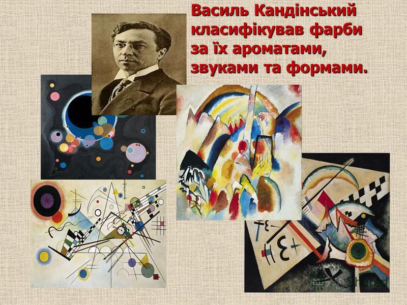 Василь Кандінський класифікував фарби за їх ароматами, звуками та формами.