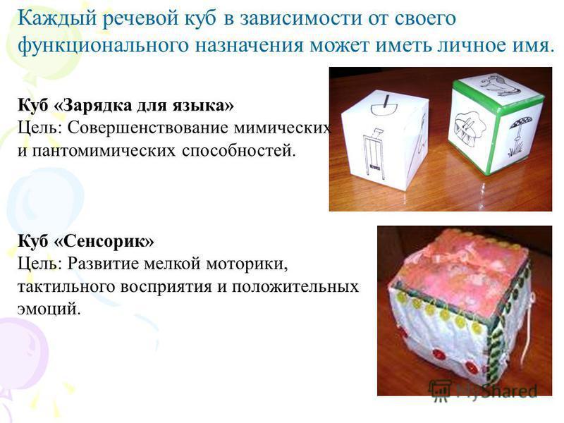Каждый речевой куб в зависимости от своего функционального назначения может иметь личное имя. Куб «Зарядка для языка» Цель: Совершенствование мимических и пантомимических способностей. Куб «Сенсорик» Цель: Развитие мелкой моторики, тактильного воспри