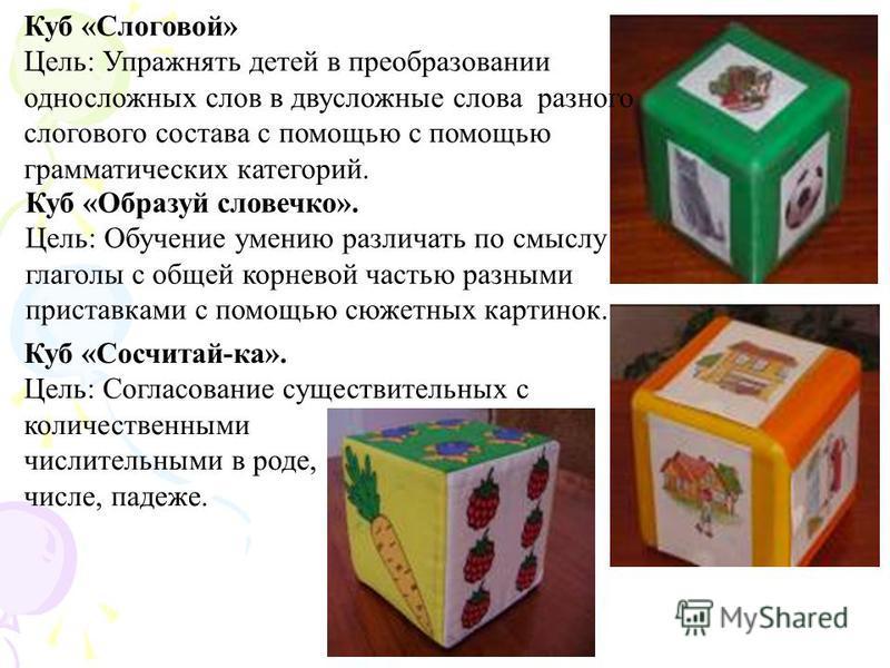 Куб «Слоговой» Цель: Упражнять детей в преобразовании односложных слов в двусложные слова разного слогового состава с помощью с помощью грамматических категорий. Куб «Образуй словечко». Цель: Обучение умению различать по смыслу глаголы с общей корнев