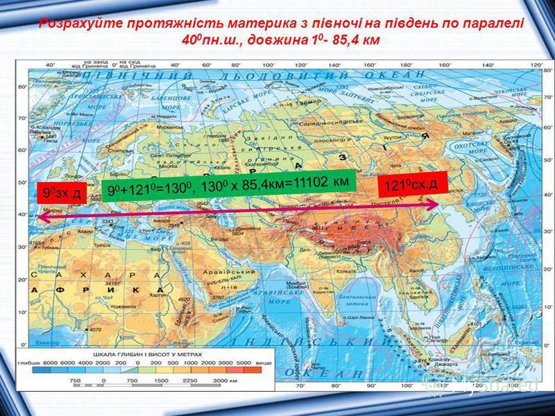 Розрахуйте протяжність материка з півночі на південь по паралелі 40 0 пн.ш., довжина 1 0 - 85,4 км 9 0 зх.д 121 0 сх.д 9 0 +121 0 =130 0, 130 0 х 85,4км=11102 км