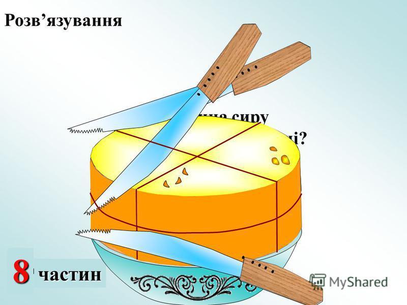 2 частини 48частин Яка частина сиру залишилась на мисці? Розвязування