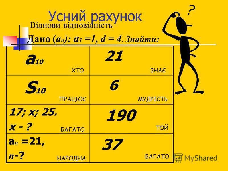 Усний рахунок Віднови відповідність Дано (а п ): а 1 =1, d = 4. Знайти: а 10 21 S 10 6 17; х; 25. х - ? 190 а п =21, п -? 37 ХТО БАГАТО ПРАЦЮЄ ТОЙ БАГАТО ЗНАЄ НАРОДНА МУДРІСТЬ