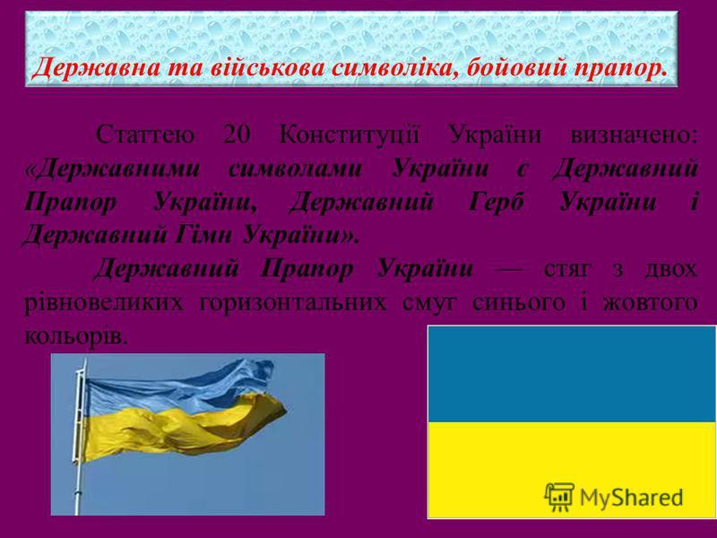 Статтею 20 Конституції України визначено: «Державними символами України є Державний Прапор України, Державний Герб України і Державний Гімн України». Державний Прапор України стяг з двох рівновеликих горизонтальних смуг синього і жовтого кольорів. Де