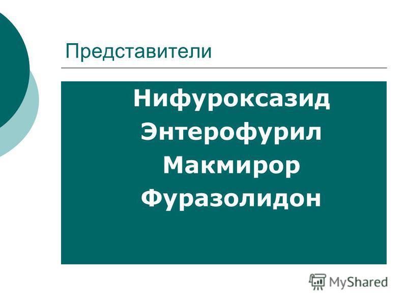 Представители Нифуроксазид Энтерофурил Макмирор Фуразолидон