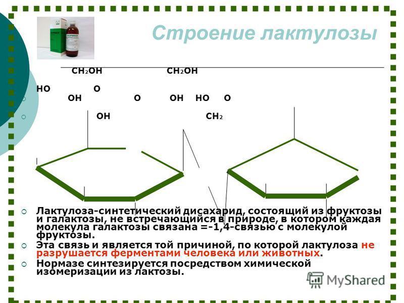 Строение лактулозы CH 2 OH CH 2 OH HO O OH O OH HO O OH CH 2 Лактулоза-синтетический дисахарид, состоящий из фруктозы и галактозы, не встречающийся в природе, в котором каждая молекула галактозы связана =-1,4-связью с молекулой фруктозы. Эта связь и