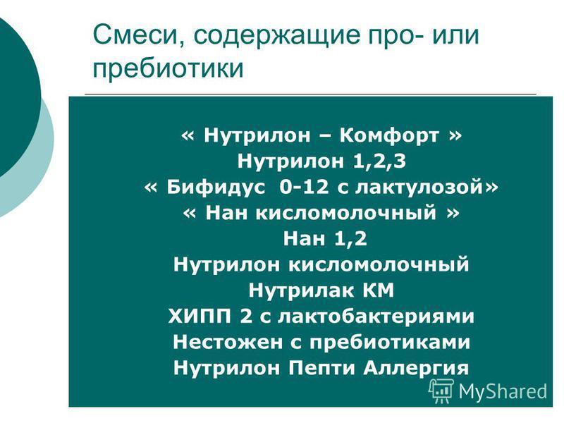 Смеси, содержащие про- или пребиотики « Нутрилон – Комфорт » Нутрилон 1,2,3 « Бифидус 0-12 с лактулозой» « Нан кисломолочный » Нан 1,2 Нутрилон кисломолочный Нутрилак КМ ХИПП 2 с лактобактериями Нестожен с пребиотиками Нутрилон Пепти Аллергия