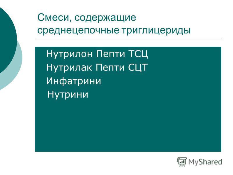 Смеси, содержащие среднецепочные триглицериды Нутрилон Пепти ТСЦ Нутрилак Пепти СЦТ Инфатрини Нутрини