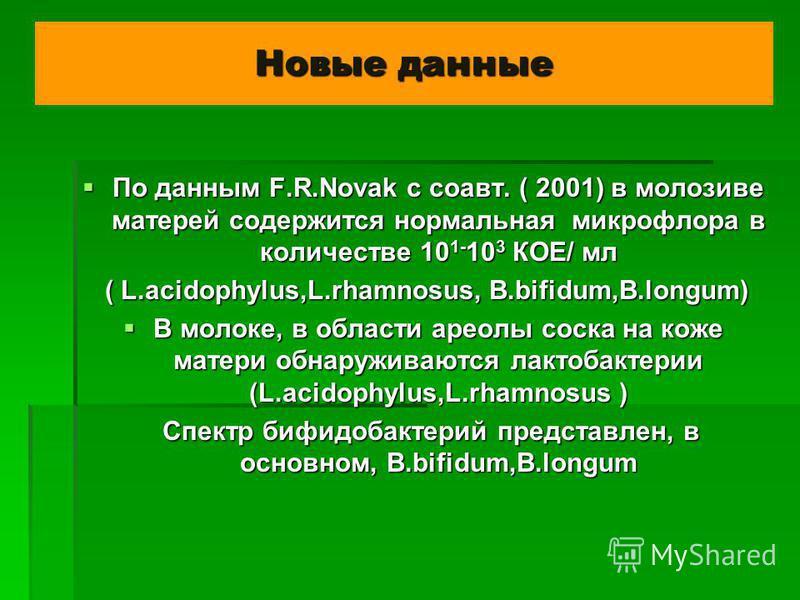 Новые данные По данным F.R.Novak с соавт. ( 2001) в молозиве матерей содержится нормальная микрофлора в количестве 10 1- 10 3 КОЕ/ мл По данным F.R.Novak с соавт. ( 2001) в молозиве матерей содержится нормальная микрофлора в количестве 10 1- 10 3 КОЕ