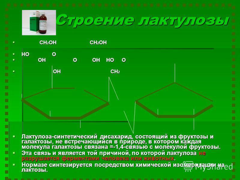Строение лактулозы CH 2 OH CH 2 OH CH 2 OH CH 2 OH HO O HO O OH O OH HO O OH O OH HO O OH CH 2 OH CH 2 Лактулоза-синтетический дисахарид, состоящий из фруктозы и галактозы, не встречающийся в природе, в котором каждая молекула галактозы связана =-1,4