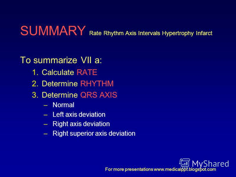 For more presentations www.medicalppt.blogspot.com SUMMARY Rate Rhythm Axis Intervals Hypertrophy Infarct To summarize VII a: 1.Calculate RATE 2.Determine RHYTHM 3.Determine QRS AXIS –Normal –Left axis deviation –Right axis deviation –Right superior