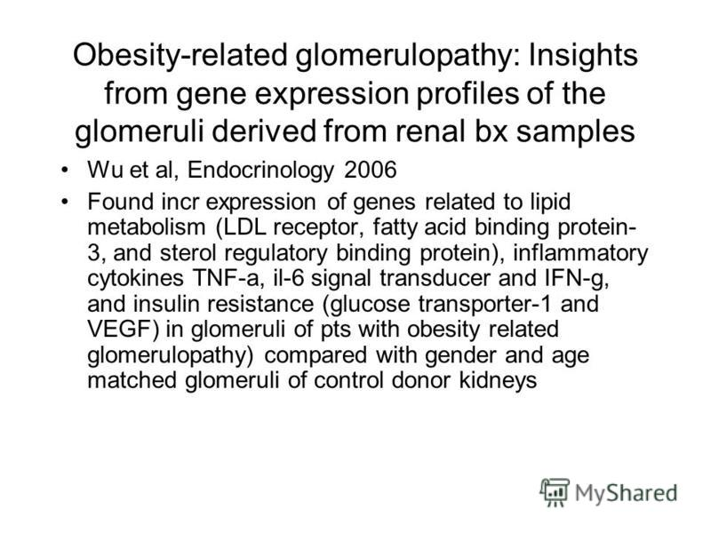 Obesity-related glomerulopathy: Insights from gene expression profiles of the glomeruli derived from renal bx samples Wu et al, Endocrinology 2006 Found incr expression of genes related to lipid metabolism (LDL receptor, fatty acid binding protein- 3