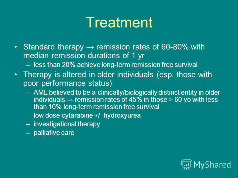 Treatment Standard therapy remission rates of 60-80% with median remission durations of 1 yr –less than 20% achieve long-term remission free survival Therapy is altered in older individuals (esp. those with poor performance status) –AML believed to b