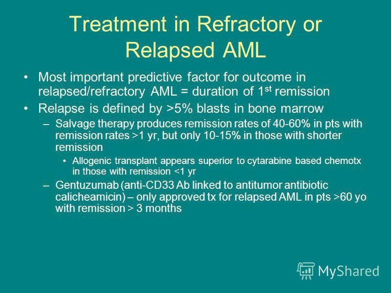 Treatment in Refractory or Relapsed AML Most important predictive factor for outcome in relapsed/refractory AML = duration of 1 st remission Relapse is defined by >5% blasts in bone marrow –Salvage therapy produces remission rates of 40-60% in pts wi