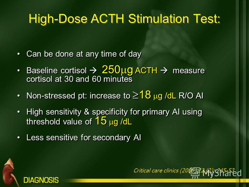 High-Dose ACTH Stimulation Test: Can be done at any time of day Baseline cortisol 250 g ACTH measure cortisol at 30 and 60 minutes Non-stressed pt: increase to 18 g /dL R/O AI High sensitivity & specificity for primary AI using threshold value of 15
