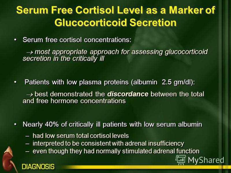 Serum Free Cortisol Level as a Marker of Glucocorticoid Secretion Serum free cortisol concentrations: most appropriate approach for assessing glucocorticoid secretion in the critically ill Patients with low plasma proteins (albumin 2.5 gm/dl): best d