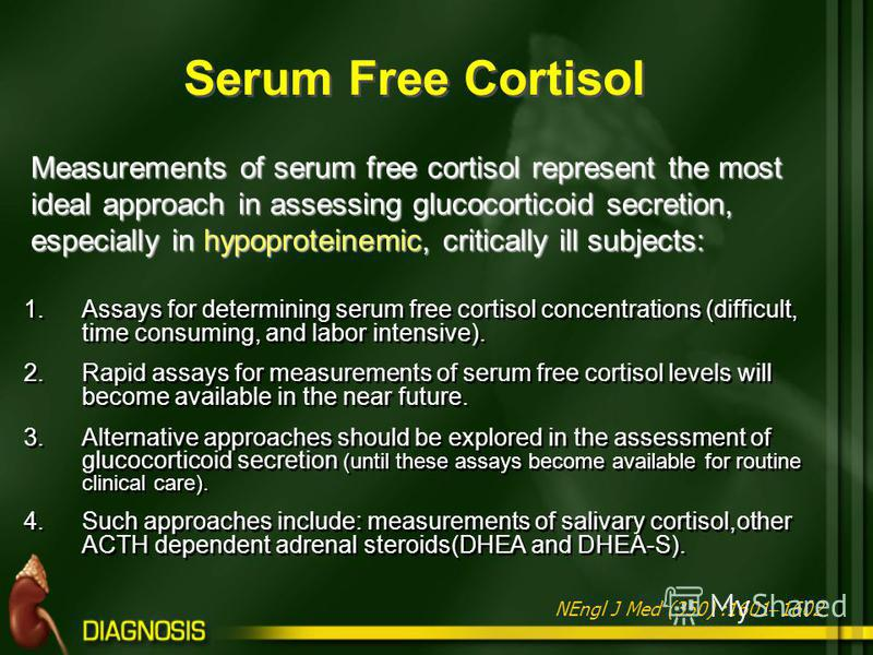 1.Assays for determining serum free cortisol concentrations (difficult, time consuming, and labor intensive). 2.Rapid assays for measurements of serum free cortisol levels will become available in the near future. 3.Alternative approaches should be e