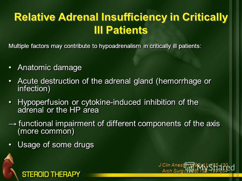 Multiple factors may contribute to hypoadrenalism in critically ill patients: Anatomic damage Acute destruction of the adrenal gland (hemorrhage or infection) Hypoperfusion or cytokine-induced inhibition of the adrenal or the HP area functional impai