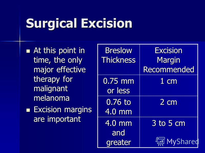Surgical Excision At this point in time, the only major effective therapy for malignant melanoma At this point in time, the only major effective therapy for malignant melanoma Excision margins are important Excision margins are important Breslow Thic