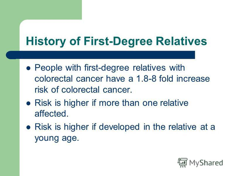 History of First-Degree Relatives People with first-degree relatives with colorectal cancer have a 1.8-8 fold increase risk of colorectal cancer. Risk is higher if more than one relative affected. Risk is higher if developed in the relative at a youn