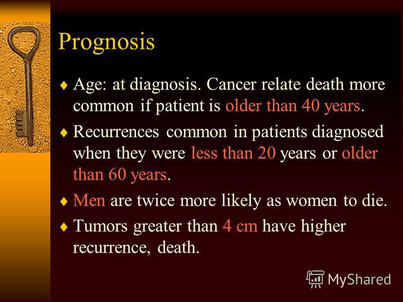 Prognosis Age: at diagnosis. Cancer relate death more common if patient is older than 40 years. Recurrences common in patients diagnosed when they were less than 20 years or older than 60 years. Men are twice more likely as women to die. Tumors great