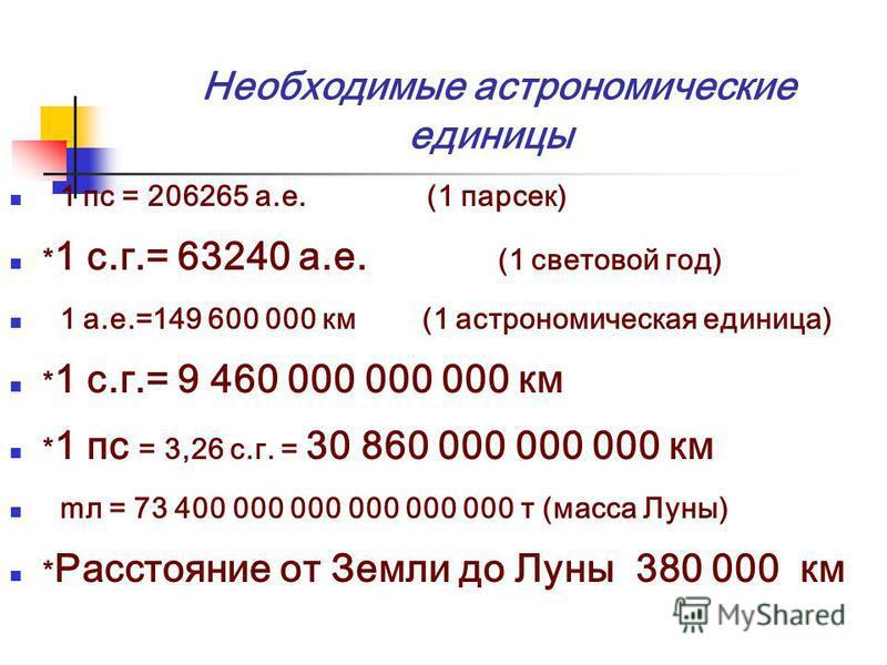 Необходимые астрономические единицы 1 пс = 206265 а.е. (1 парсек) * 1 с.г.= 63240 а.е. (1 световой год) 1 а.е.=149 600 000 км (1 астрономическая единица) * 1 с.г.= 9 460 000 000 000 км * 1 пс = 3,26 с.г. = 30 860 000 000 000 км мл = 73 400 000 000 00