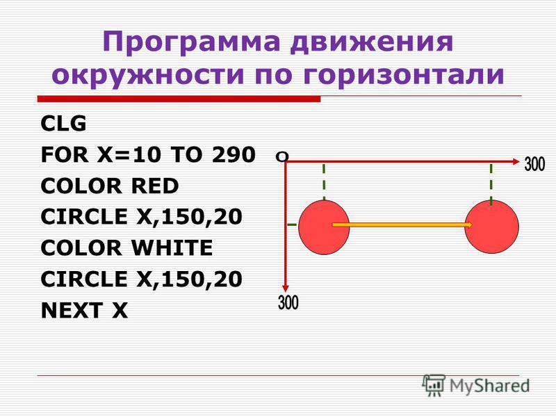 Построение движущихся изображений на экране. 1. С помощью цикла определить траекторию движения фигуры. 2. Нарисовать фигуру заданным цветом в начале траектории. 3. Нарисовать фигуру цветом фона на том же месте. 4. Перейти к следующей точке траектории