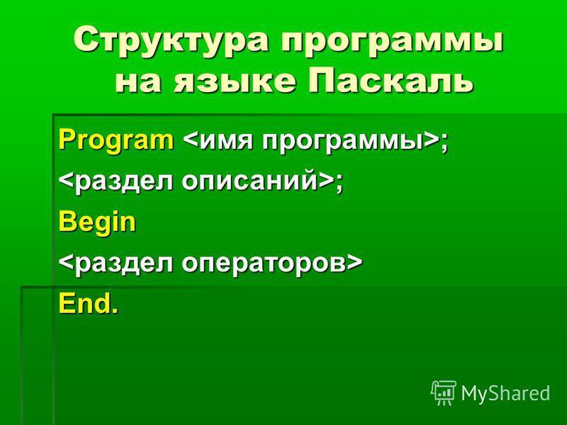 Структура программы на языке Паскаль Program ; ; ;Begin End.