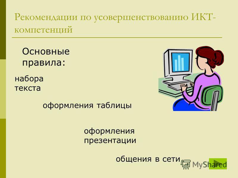 Рекомендации по усовершенствованию ИКТ- компетенций оформления таблицы оформления презентации общения в сети набора текста Основные правила:
