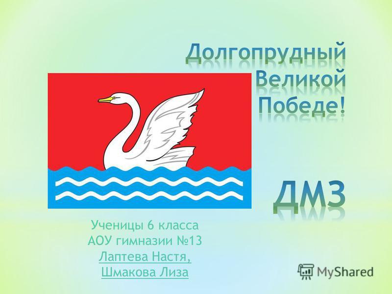Ученицы 6 класса АОУ гимназии 13 Лаптева Настя, Шмакова Лиза