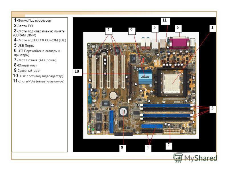 1- Socket Под процессор 2 -Слоты PCI 3 -Слоты под оперативную память (CDRAM DIMM) 4 -Слоты под HDD & CD-ROM (IDE) 5 -USB Порты 6 -LPT Порт (обычно сканеры и принтеры) 7 -Слот питания (ATX power) 8- Южный мост 9 -Северный мост 10- AGP слот (под видеоа