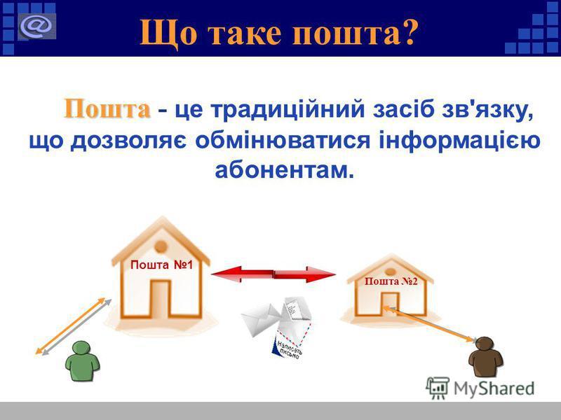 Що таке пошта? Пошта Пошта - це традиційний засіб зв'язку, що дозволяє обмінюватися інформацією абонентам. Пошта 1 Пошта 2