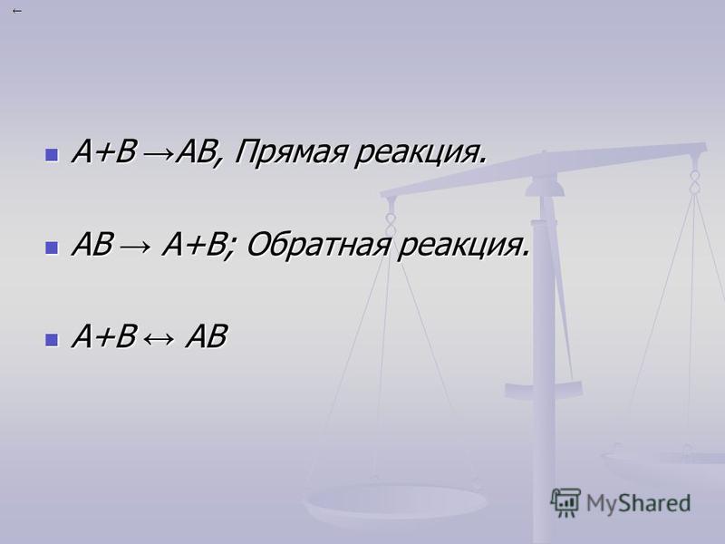 А+В АВ, Прямая реакция. А+В АВ, Прямая реакция. АВ А+В; Обратная реакция. АВ А+В; Обратная реакция. А+В АВ А+В АВ
