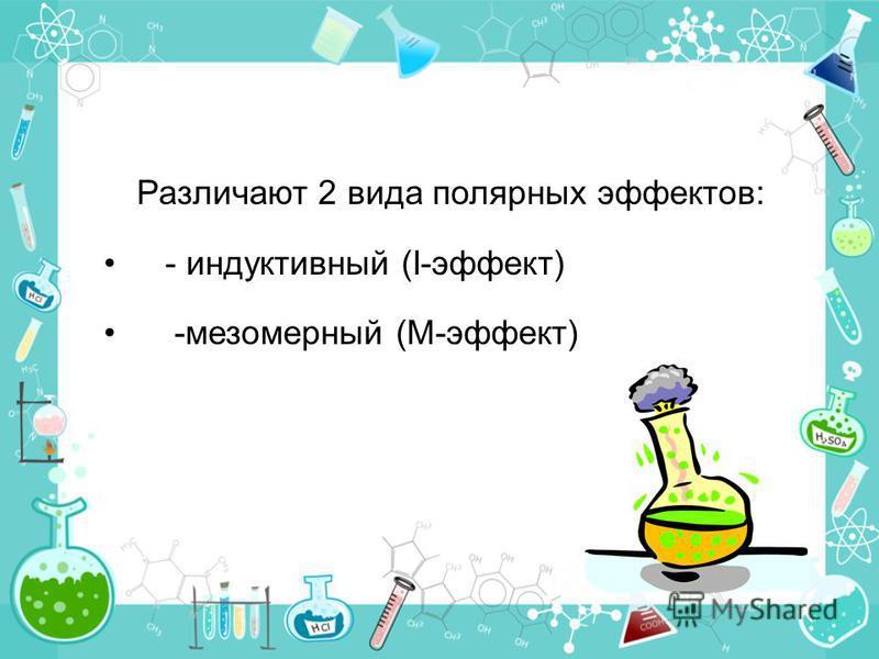 Различают 2 вида полярных эффектов: - индуктивный (I-эффект) -мезомерный (M-эффект)