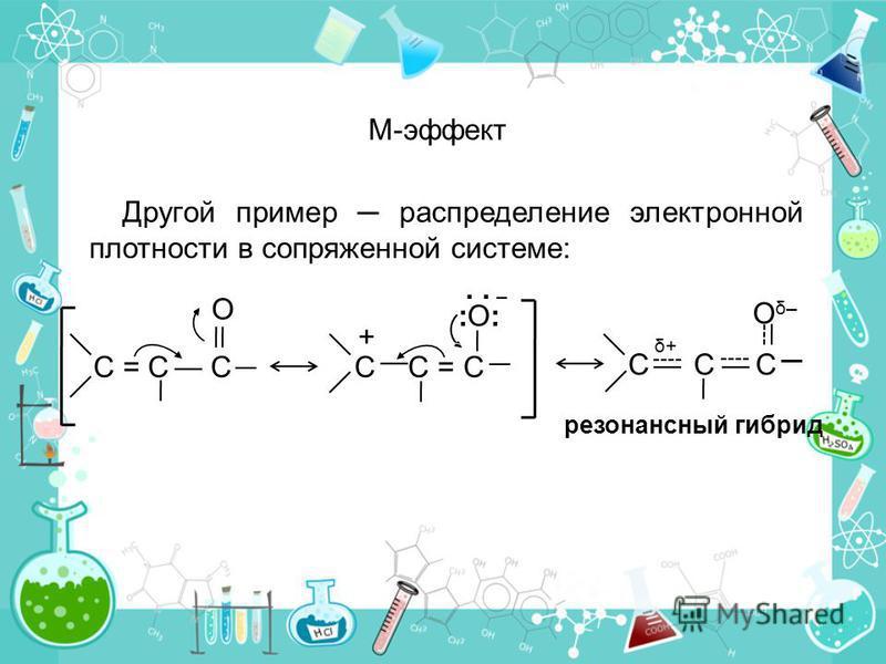 Другой пример распределение электронной плотности в сопряженной системе: М-эффект резонансный гибрид C δ+ C C Oδ–Oδ– C = C CC C = C :O::O: + O –.