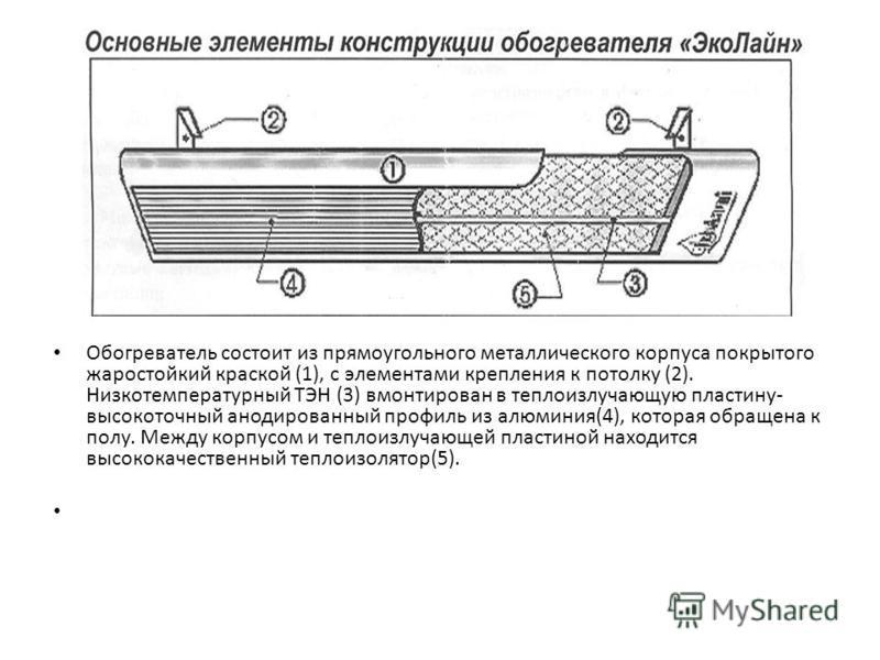 Обогреватель состоит из прямоугольного металлического корпуса покрытого жаростойкий краской (1), с элементами крепления к потолку (2). Низкотемпературный ТЭН (3) вмонтирован в теплоизлучающую пластину- высокоточный анодированный профиль из алюминия(4