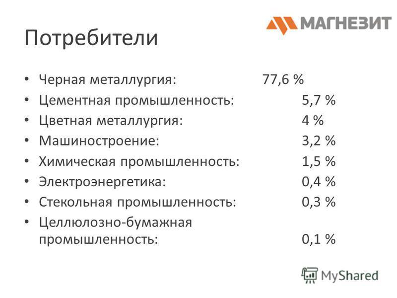 Потребители Черная металлургия:77,6 % Цементная промышленность:5,7 % Цветная металлургия:4 % Машиностроение:3,2 % Химическая промышленность:1,5 % Электроэнергетика:0,4 % Стекольная промышленность:0,3 % Целлюлозно-бумажная промышленность:0,1 %
