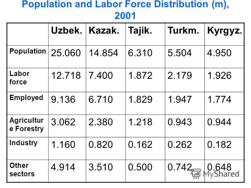 Population and Labor Force Distribution (m), 2001 Uzbek.Kazak.Tajik.Turkm.Kyrgyz. Population 25.06014.8546.3105.5044.950 Labor force 12.7187.4001.8722.1791.926 Employed 9.1366.7101.8291.9471.774 Agricultur e Forestry 3.0622.3801.2180.9430.944 Industr
