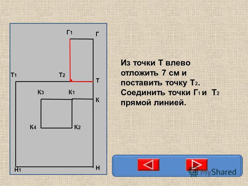 Н Т Т1Т1 Н1Н1 К К1К1 К3К3 К2К2 К4К4 Г Г1Г1 Т2Т2 Из точки Т влево отложить 7 см и поставить точку Т 2. Соединить точки Г 1 и Т 2 прямой линией.