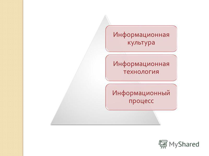 Информационная культура Информационная технология Информационный процесс