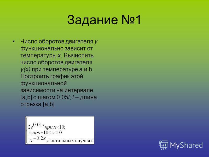 Задание 1 Число оборотов двигателя y функционально зависит от температуры x. Вычислить число оборотов двигателя y(x) при температуре a и b. Построить график этой функциональной зависимости на интервале [a,b] с шагом 0,05l; l – длина отрезка [a,b].