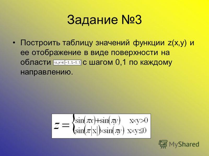 Задание 3 Построить таблицу значений функции z(x,y) и ее отображение в виде поверхности на области с шагом 0,1 по каждому направлению.