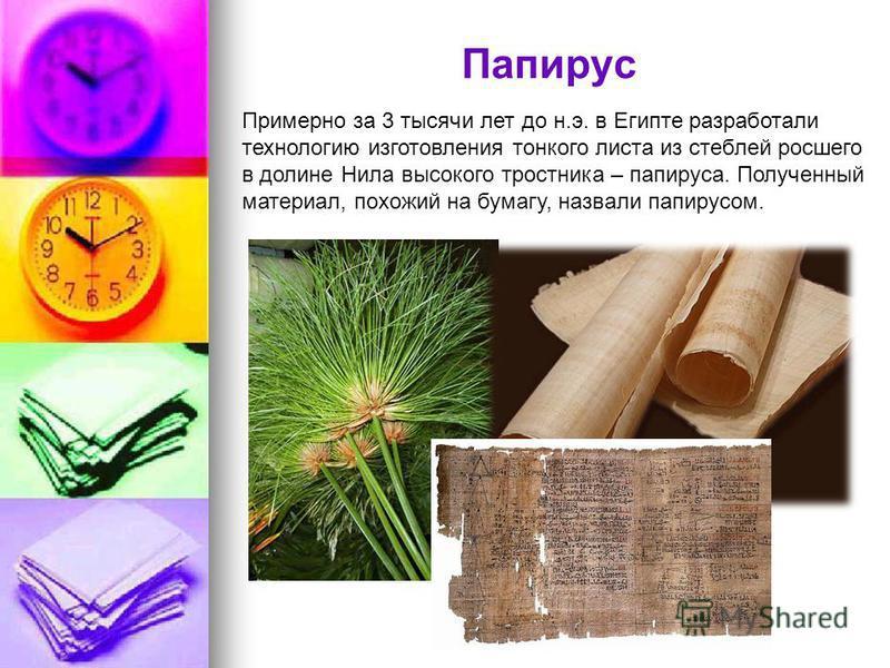Папирус Примерно за 3 тысячи лет до н.э. в Египте разработали технологию изготовления тонкого листа из стеблей росшего в долине Нила высокого тростника – папируса. Полученный материал, похожий на бумагу, назвали папирусом.