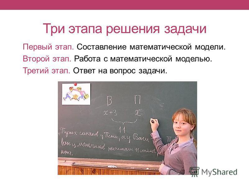 Три этапа решения задачи Первый этап. Составление математической модели. Второй этап. Работа с математической моделью. Третий этап. Ответ на вопрос задачи.
