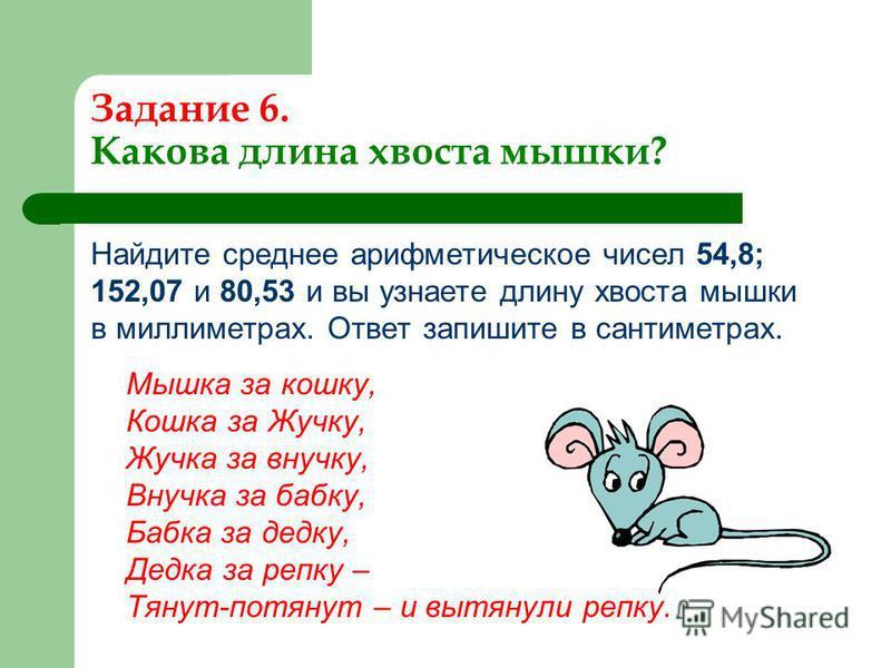 Задание 6. Какова длина хвоста мышки? Найдите среднее арифметическое чисел 54,8; 152,07 и 80,53 и вы узнаете длину хвоста мышки в миллиметрах. Ответ запишите в сантиметрах. Мышка за кошку, Кошка за Жучку, Жучка за внучку, Внучка за бабку, Бабка за де