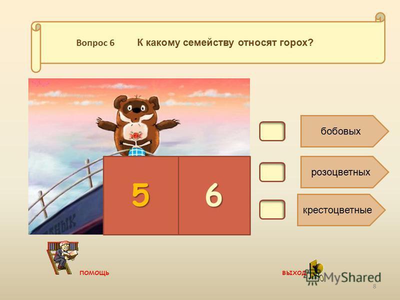 В6. бобовых розоцветных крестоцветные 56 Вопрос 6 К какому семейству относят горох? 8 помощь выход
